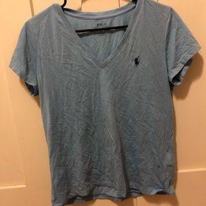 Blue polo v neck shirt